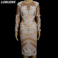 Белое жемчужное блестящее платье с кристаллами женские костюмы Звезда вечерние вечеринка праздник сценическая одежда певица Вокальный ко