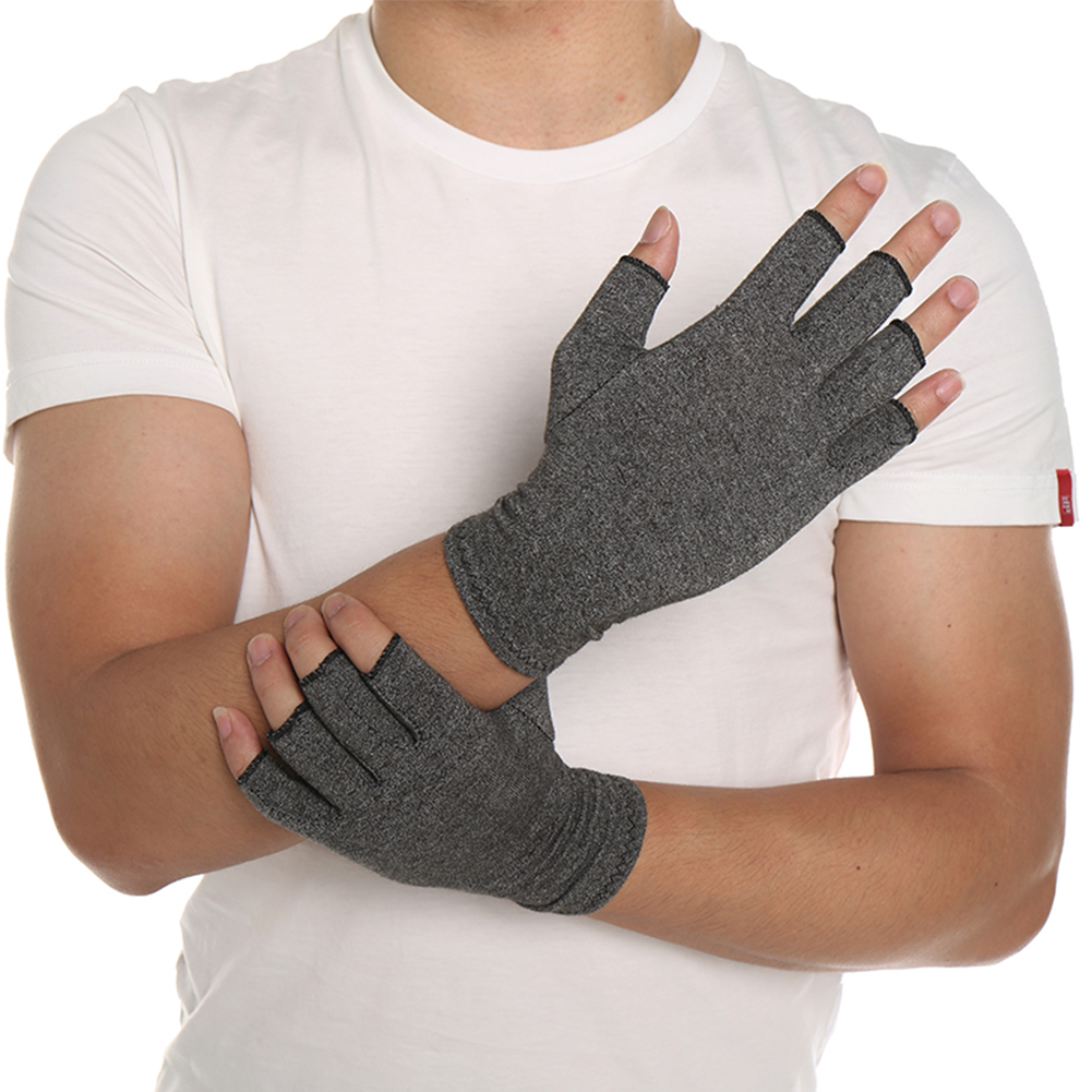 One Pair Women Men Cotton Elastic Therapy Open Fingers Compression Gloves Hand Arthritis Joint Pain Relief Gloves Cycling Climb