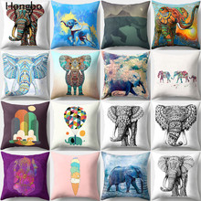 Hongbo 1 Pcs Colorful Elephant  Throw Pillow Cushion Cover Car Home Sofa Decorative Pillowcase Christmas Decorations