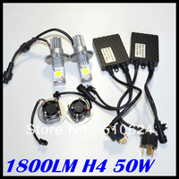 Free Shipping 1800 Lumen Headlight LED H4 CREE CXA1512 Chips LED Headlight H4 LED 1800lm Auto