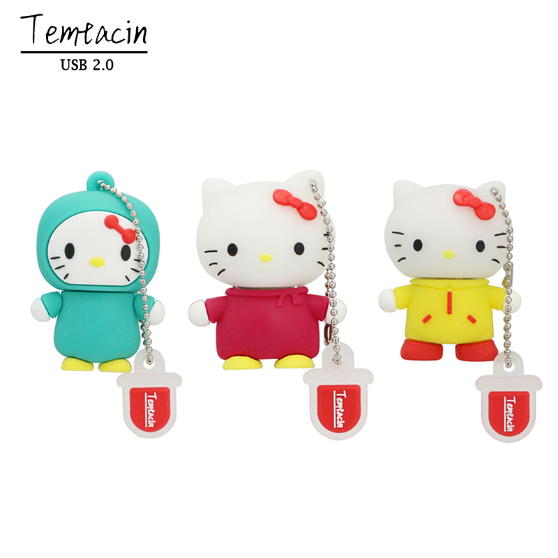 Hot Sell Hello Kitty USB Flash Drive Cat Pen Drive Gift Fashion Cartoon Animal 4GB 8GB 16GB USB Drive Thumb Stick U Disk