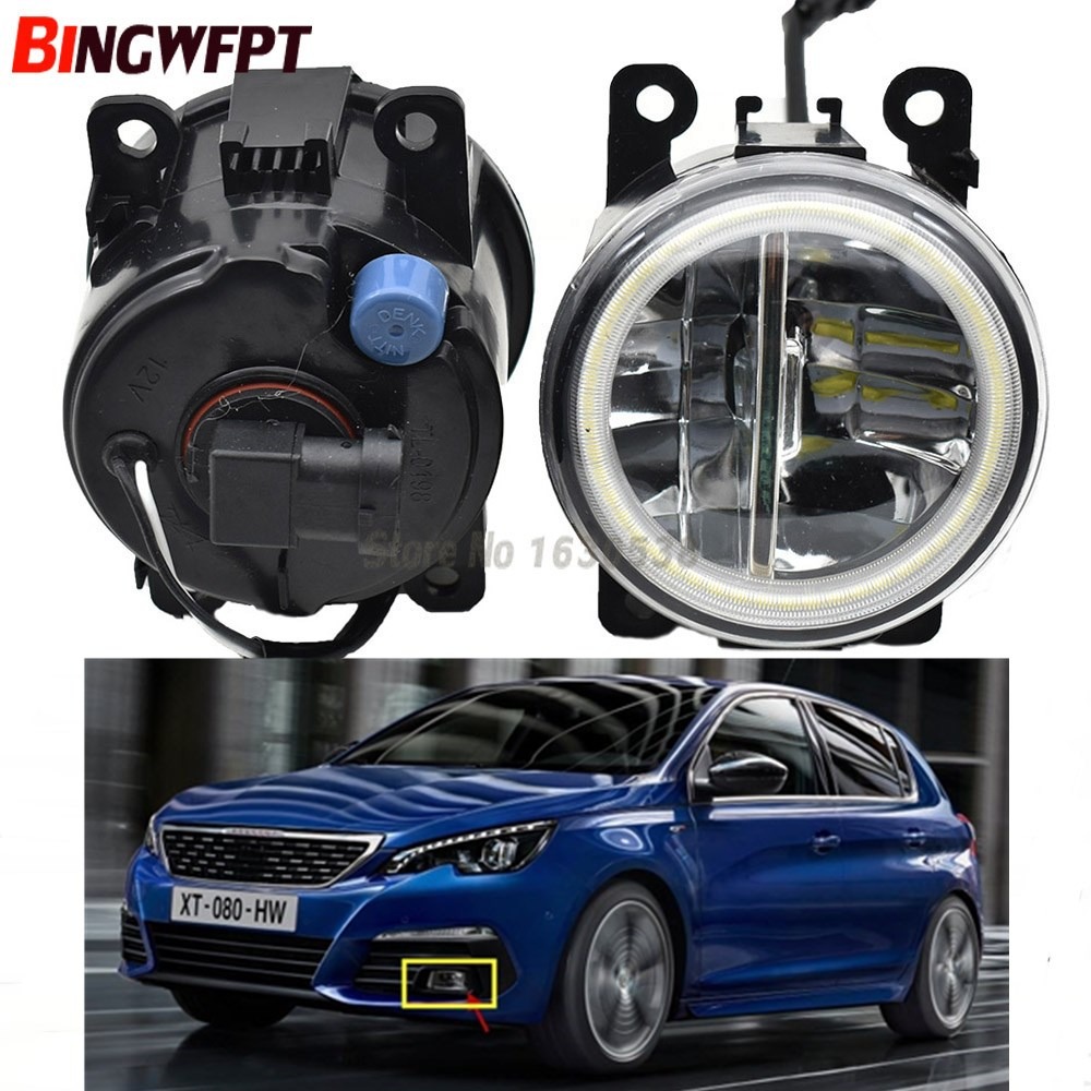 2x Angel Eyes High Brightness front bumper LED fog light white For Peugeot 208 2014 2015