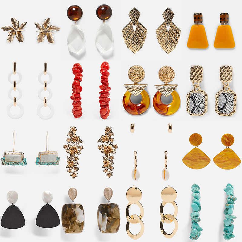 Miwens Za 2019 New Style Metal Resin Beads Stone Shell Big Drop Pendant Hanging Earrings Women Wholesale Handmade Jewelry A351