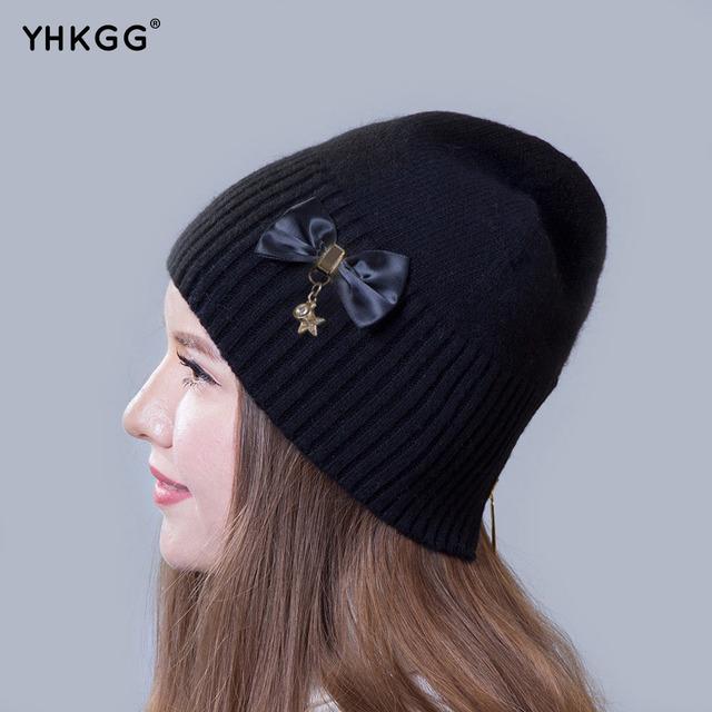 2016 mujeres de La Manera del sombrero. Otoño y el invierno de La Muchacha del sombrero Skullies Gorros. mezcla De lana de Angora