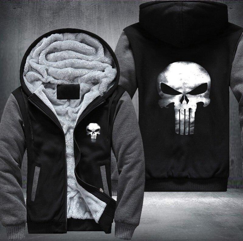 Размер США Каратель Череп Косплэй пальто на молнии с капюшоном зима флис унисекс Толстая куртка толстовки
