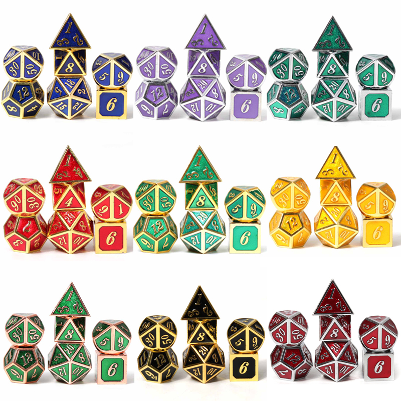 Chengshuo masmorras e dragões d20 rpg set poliédrico dados dnd metal 10 8 jogos de mesa verde liga de Zinco verde digital dados padrão