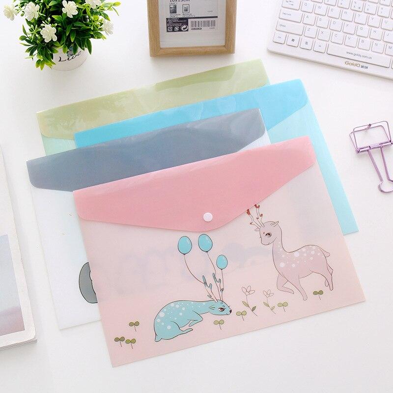 10pcs/lot File Folder Cute Cartoon Animals A4 Paper Bag Kawaii Translucent Document Bag For Business And School Office Supplies
