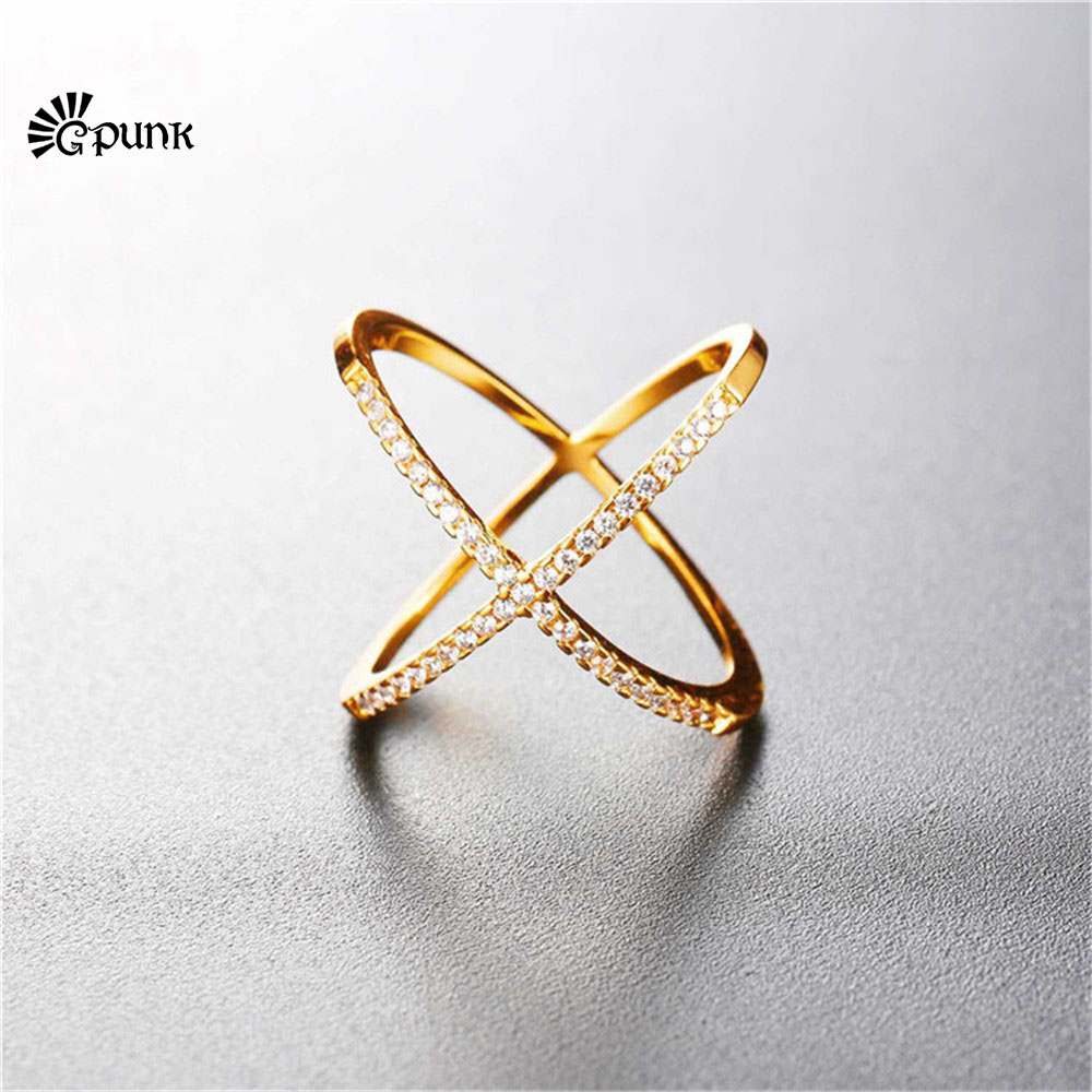 x ring cross ring with box simple design AAA+ cubic zirconia finger rings R2561G