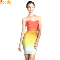 Mulheres laranja gradualmente mudar cores fora do ombro strapless ombre vestido íris bandage vestido sexy vestido de festa curto HL8810