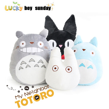 יפן אנימה TOTORO בפלאש צעצוע רך ממולא כרית/כרית קריקטורה לבן Totoro בובה/קיקיס משלוח שירות שחור חתול ילדים צעצועים