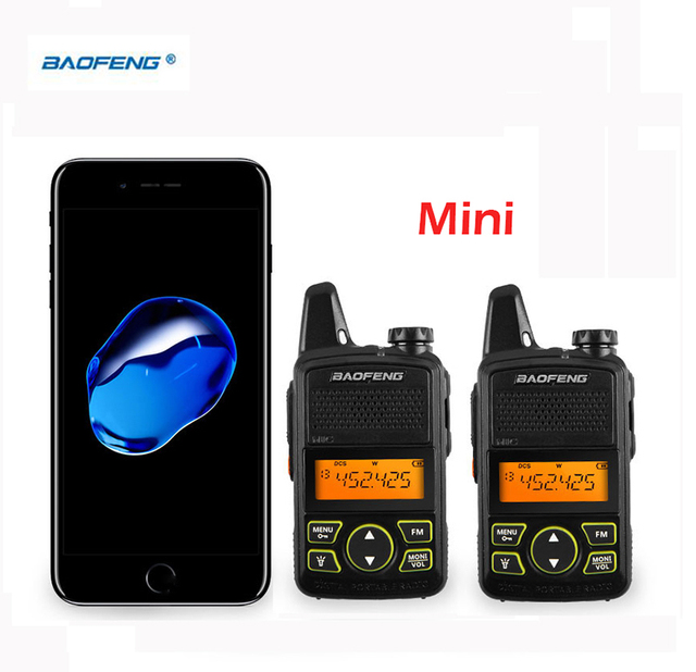 2pcs Ptt Baofeng BF T1 Portable Earphone Walkie Talkie Set With Handheld Hotel Radio Comunicacion Ham HF Transceiver walk talk