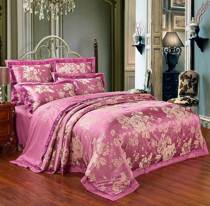 purple flowers luxury silk jacquard bedding sets 4pcs for king queen size wedding duvet cover