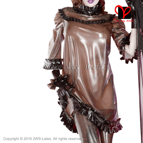Sexy transparent brown with Black frills Latex blouse Half sleeves Rubber uniform pajamas Gummi clothes clothing