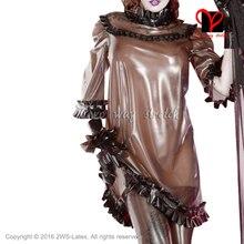 Сексуальная прозрачная коричневая с черными оборками латексная Блузка Половина рукава резиновая форменная Пижама Gummi одежда QZ-099