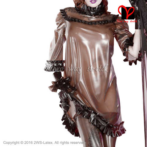 Sexy transparent brown with Black frills Latex blouse Half sleeves Rubber uniform pajamas Gummi clothes clothing QZ-099