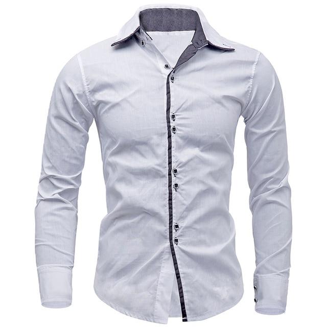 Nuovi arrivi uomini camicia di marca di stile britannico manica lunga uomo  slim fit business casual 366c36bf4e73