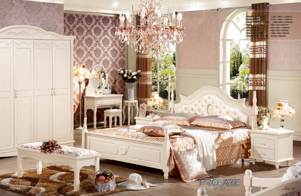 European Wooden Bedroom Furniture Set With 5 Doors Wardrobe,Beside  Table,Dressing Table,Bed End Stool And Flower Stand PRF815