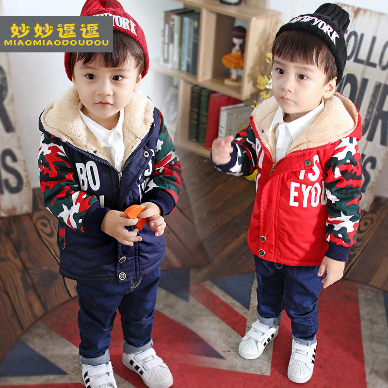 New 2017 Winter Children Clothing Baby Boys Casual Geometric Zipper Cotton jacket Kids Cashmere Hooded Thickened Outwear&Coat