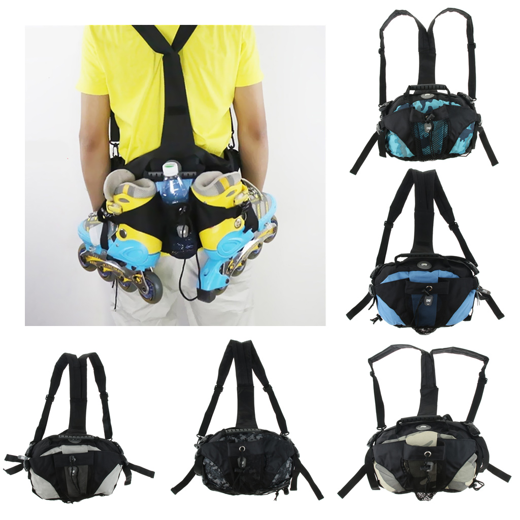 Skatepack Quad Roller Skate Bag Shoulder Backpack Waist Pack Portable Polyester Sports Bags For Sneakers 31x18x24cm