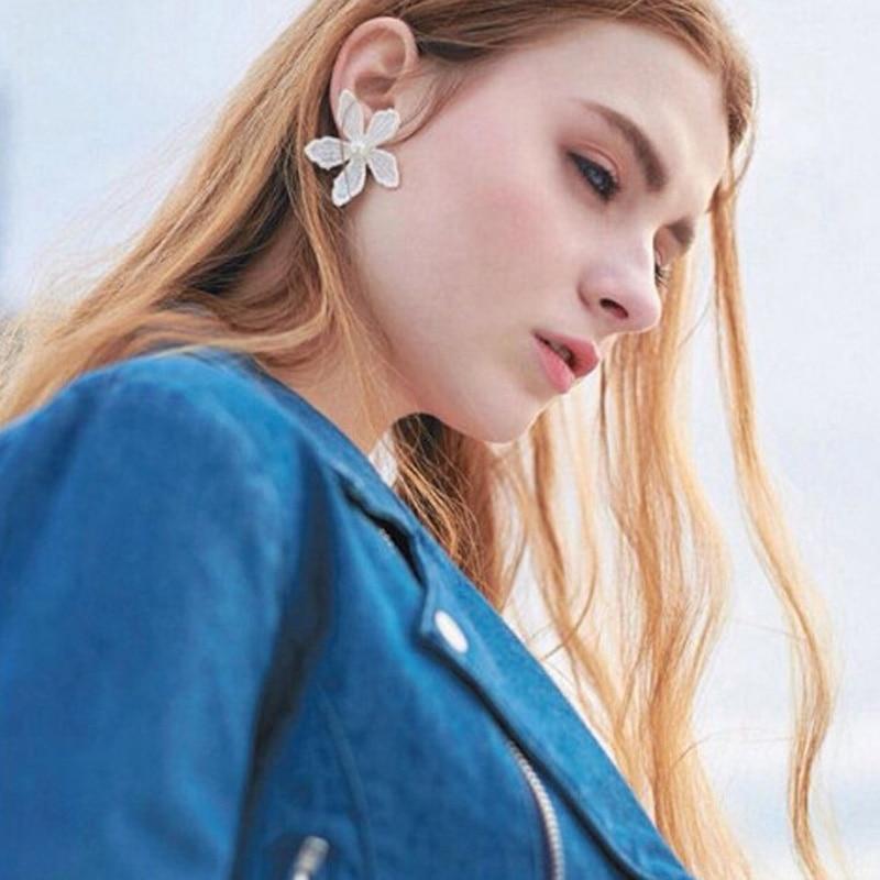 1 par Nueva Bijoux accesorios de Moda lindo blanco flor stud pendientes E295 bon