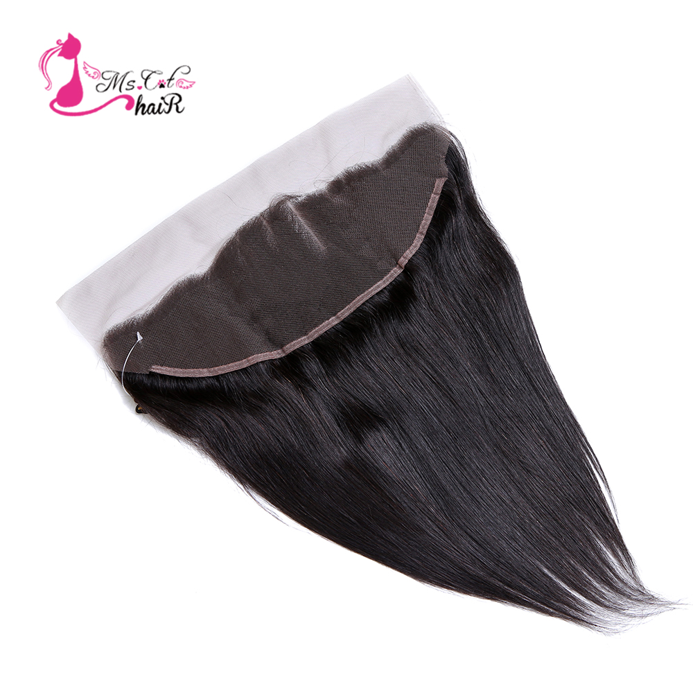 Ms Cat Hair Brazilian Straight Hair Lace Frontal Closure 13x4 Swiss Lace Ear To Ear Remy