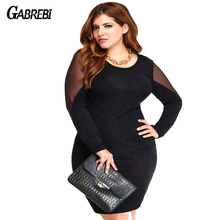 Fashion Sexy See-through Lace Net Yarn Package Hip Black Club Dress 2016 New Arrival Spring Plus Size Women Party Dress Vestidos