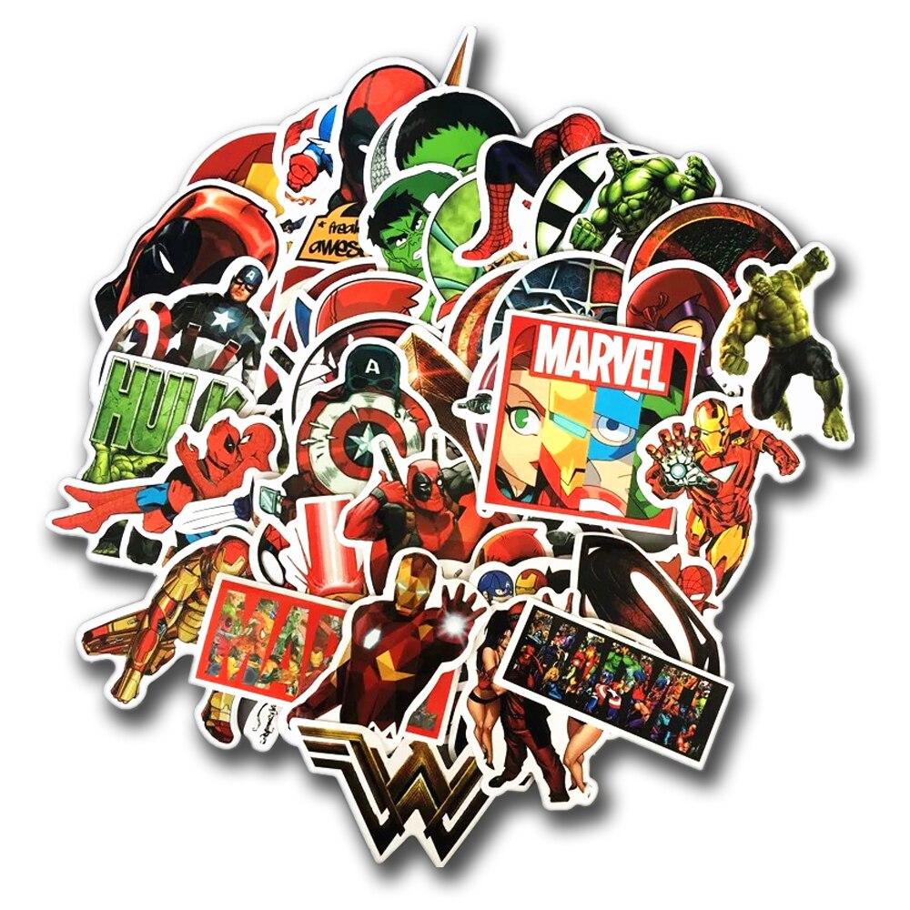 NEW 50 Pcs/Lot Stickers For MARVEL Super Hero For Car Laptop Notebook Decal Fridge Skateboard Batman Superman Hulk Iron Man