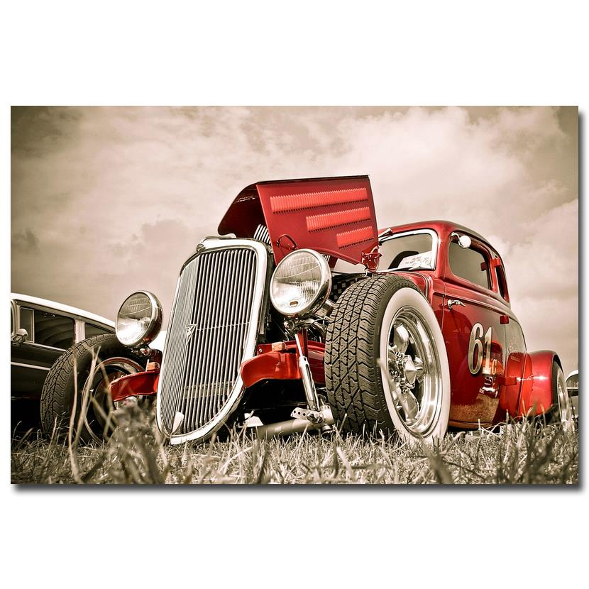 Nicoleshenting hot rod muscle car art silk fabric poster for Antique car decor