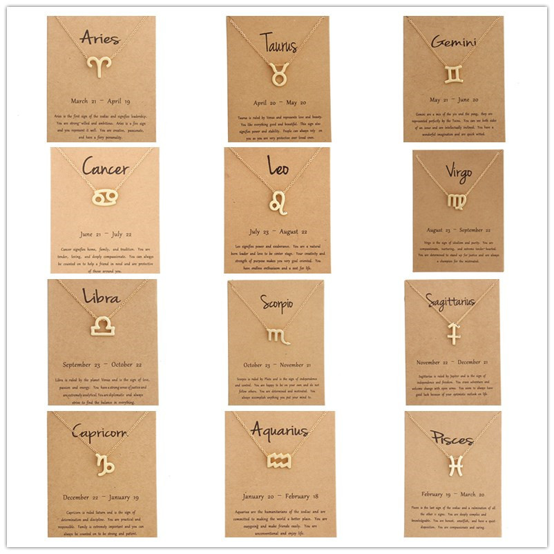 12 Zodiac Sign Necklaces with Gift card constellations Pendant Gold chains choker For women Fashion Jewelry
