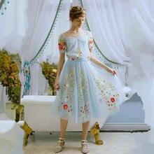 Линетт chinoiserie весна лето новое прибытие мечта вода синяя мода вышивка элегантный марли цветок fairy юбка бюст