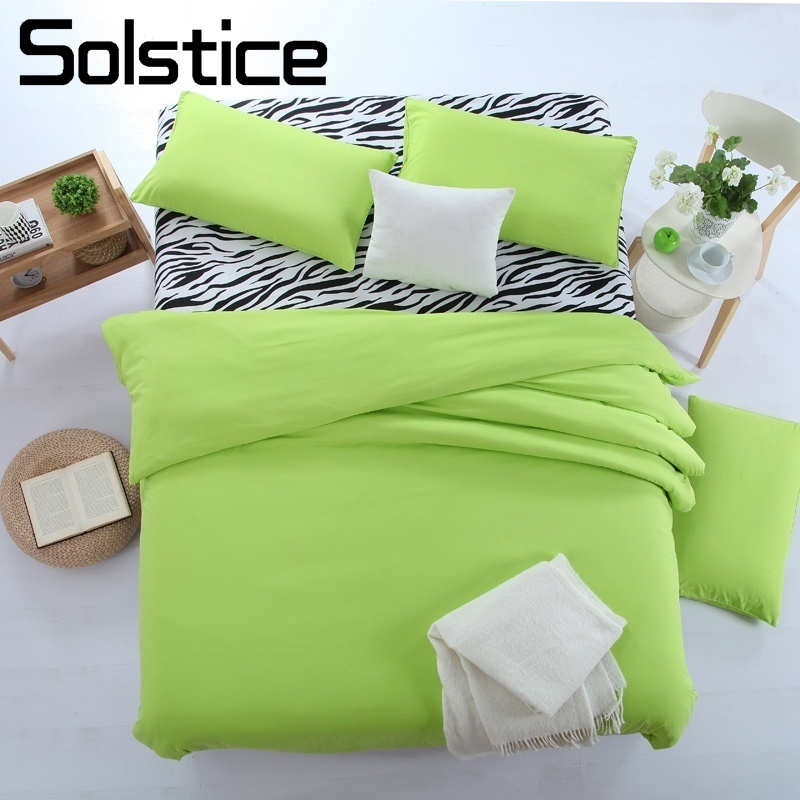 Solstice Home Textile Solid Color Green Bedding Set Girls Teen Woman Bedlinen Duvet Cover Pillowcase Bed Flat Sheet Zebra Stripe