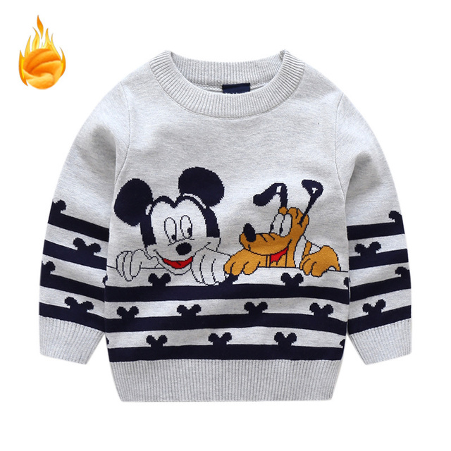 80c6e4524 Baby Boy Sweater Cartoon Mickey Embroidery Jacquard Weave Girls Sweaters  Knitted Fleece Thickened Cute Toddler Boys Clothes Kids