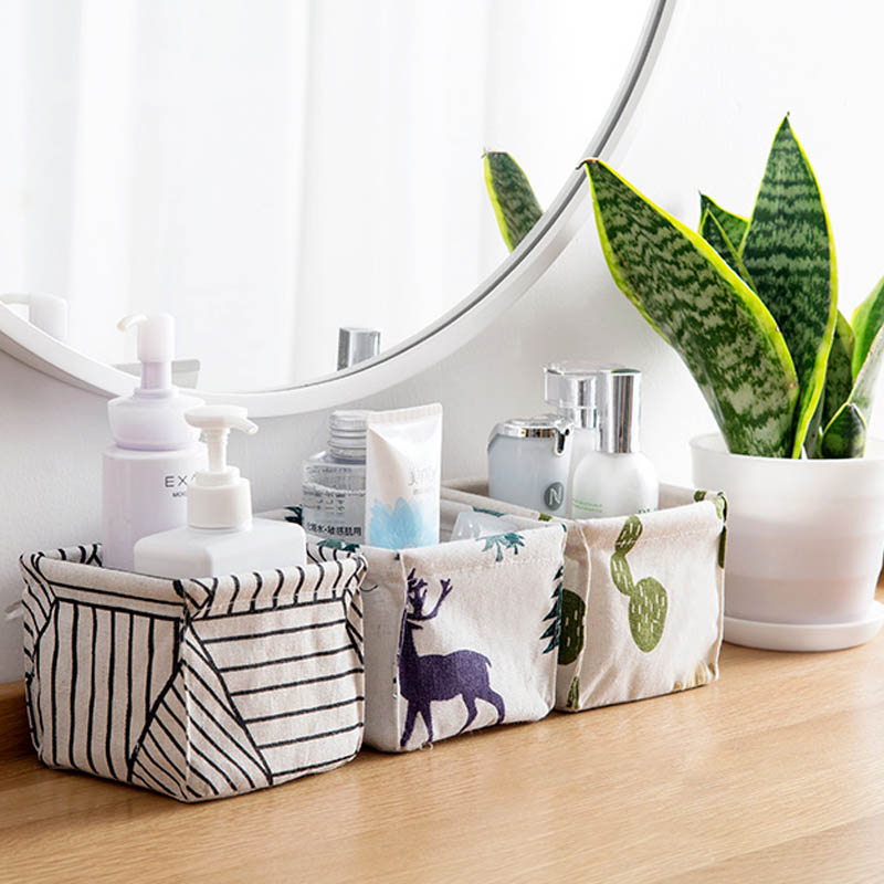 Image 3 - Foldable Sundries Storage basket Cute Printing Cosmetics Container Multifunction Cotton Linen Storage Basket Desktop organizer-in Storage Baskets from Home & Garden