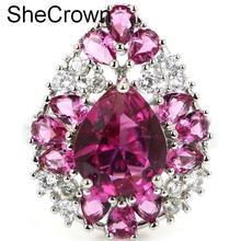 купить!  7.25 # SheCrown Форма капли Розовый турмалин Белый CZ Женское обручальное серебряное кольцо 23x18 мм дешево!