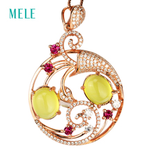 Natural yellow prehnite silver pendant, oval 8mm*10mm with bright red tourmaline,classic and fashion for women