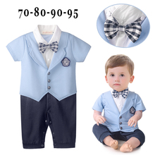 2016 Baby Boy Rompers Summer Formal Suits Gentlemen Plaid Bow Tie One Piece Short Sleeve Infant Outfits Roupas Infantil Menino