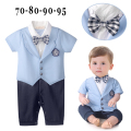 2017 Baby Boy Rompers Summer Formal Suits Gentlemen Plaid Bow Tie One Piece Short Sleeve Infant Outfits Roupas Infantil Menino