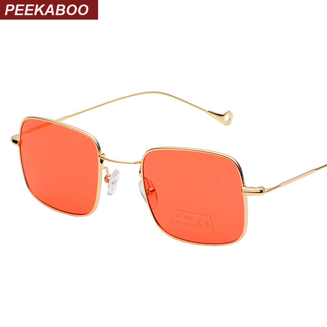 1f4f623a12 Peekaboo rectangular sunglasses men red yellow blue clear lens sun glasses  for women square metal male