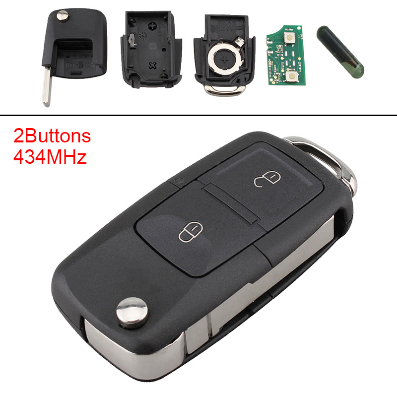 2 Buttons Keyless Uncut Flip Car Remote Key Fob With ID48 Chip For VW Beetle Bora Golf Passat Polo Transporter T5 2002-2010