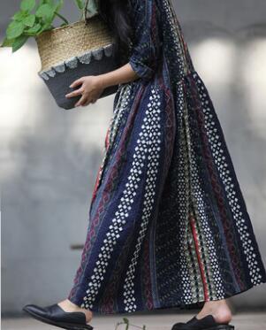Abito Lino Modo Size Della Allentato Femminile Blu Dress Np202 Di Nazionale Vestito Cotton Etnico Plus Confortevole Stampa B7x4F1