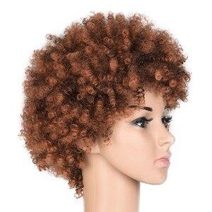 Image 3 - Feilimei Sintetico Ombre Riccio crespo Parrucche Per Le Donne di Colore Nero Naturale Marrone Breve Afro Falso Dei Capelli Resistente Al Calore Parrucca Femminile