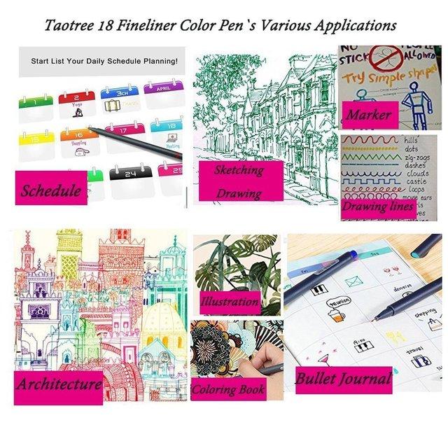 18 kolorów Fineliner długopisy zestaw, cienka linia kolorowy szkic pisania rysunek długopisy dla Bullet Journal Planner do robienia notatek