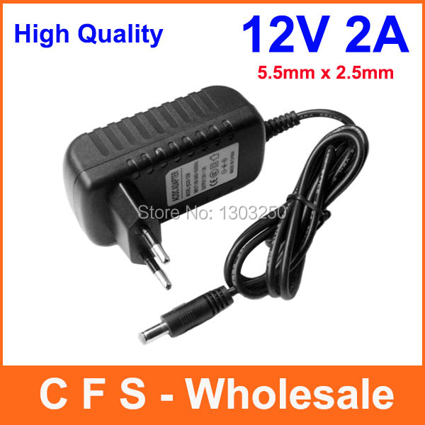 12V 2A tip size 5.5mm 2.1mm AC ADAPTER DC Power SUPPLY CORD Car Charger