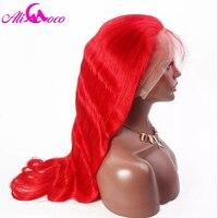 Али Коко Бразильский объемная волна Синтетические волосы на кружеве человеческих волос красный/желтый/синий/розовый/Puple парики 130%/ 150% Плотн