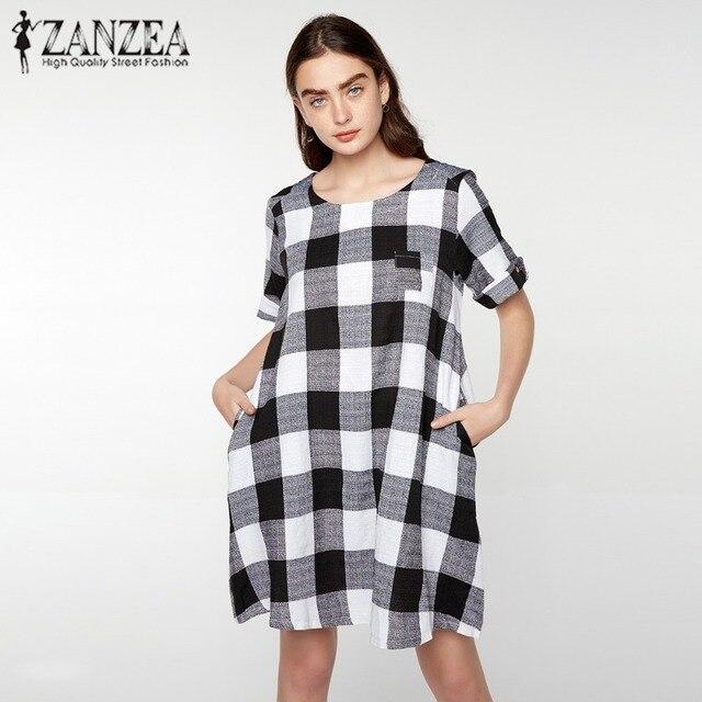 e5ea6b46f4fc2 ZANZEA Plus Womens Summer Round Neck Short Sleeve Pockets Black White Plaid Casual  Loose Tunic Dress