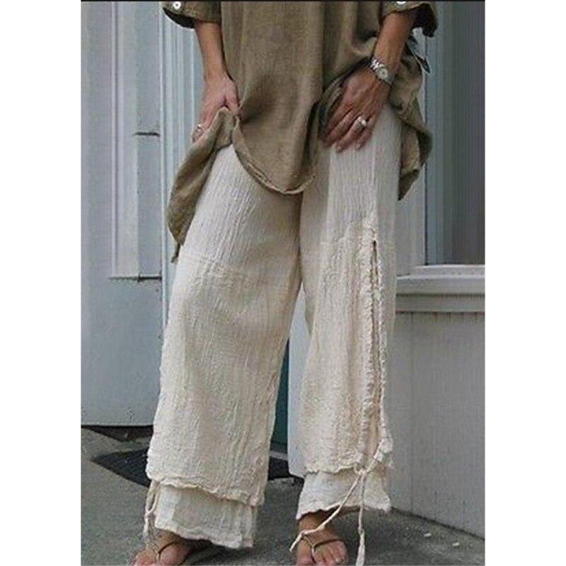 MoneRffi 2019 Linen   Pants   Women Girl Solid Pleated   Wide     Leg     Pant   Female Loose High Waist Trouser Long Korean Fashion Casual   Pant