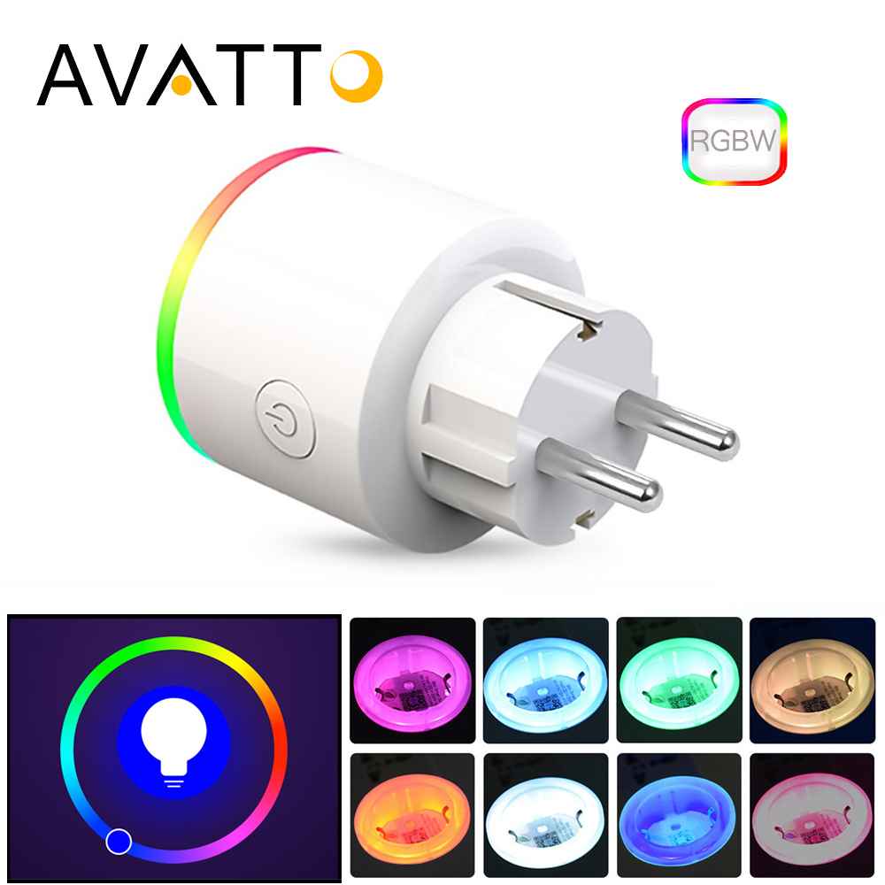 AVATTO 16A EU RGB wifi Smart Plug mit Power Monitor, wifi drahtlose Intelligente Steckdose mit Google Home Alexa Voice Control
