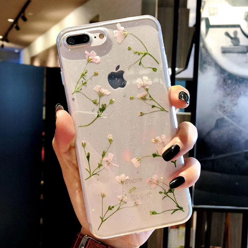 Clear Phone Cases For iPhone X Fashion Real Dried Flower Case For iphone 6 6S 7 Plus Floral Back Cover For iPhone 8 Plus Fundas iPhone