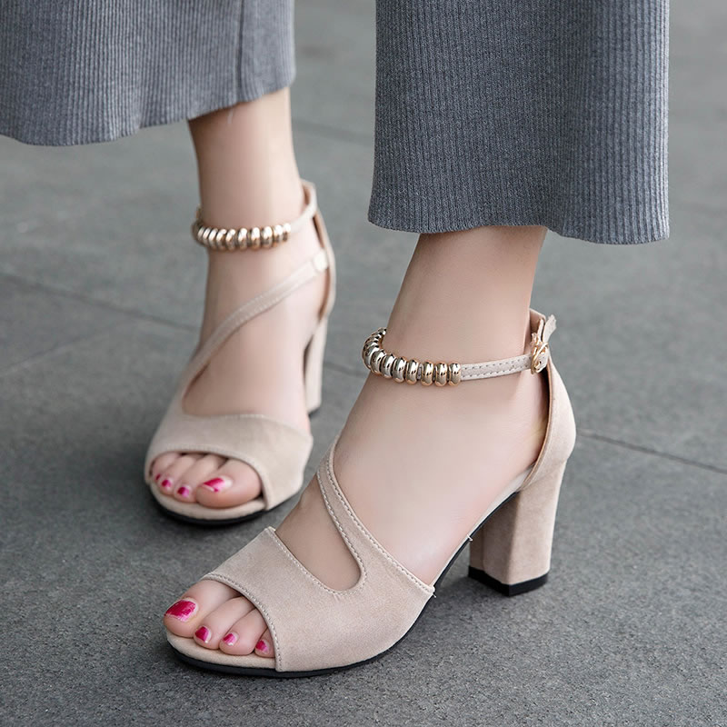 Strap Shoes Gladiator Sandals High-Heels Fashion Summer Woman De Mujer XX001 Buckle Beading