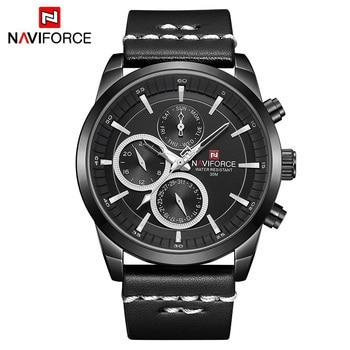 Mens Watches NAVIFORCE Top Brand Luxury Waterproof 24 hour Date Quartz Watch Man Fashion Leather Sport Wrist Watch Men Clock 7